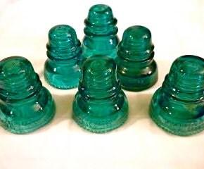 Custom Antique Aqua Glass Insulator Lights - Large Insulator pendant lights in Green/Blue Aqua pendant lights Aqua lights green insulator - DivineDiscoveries