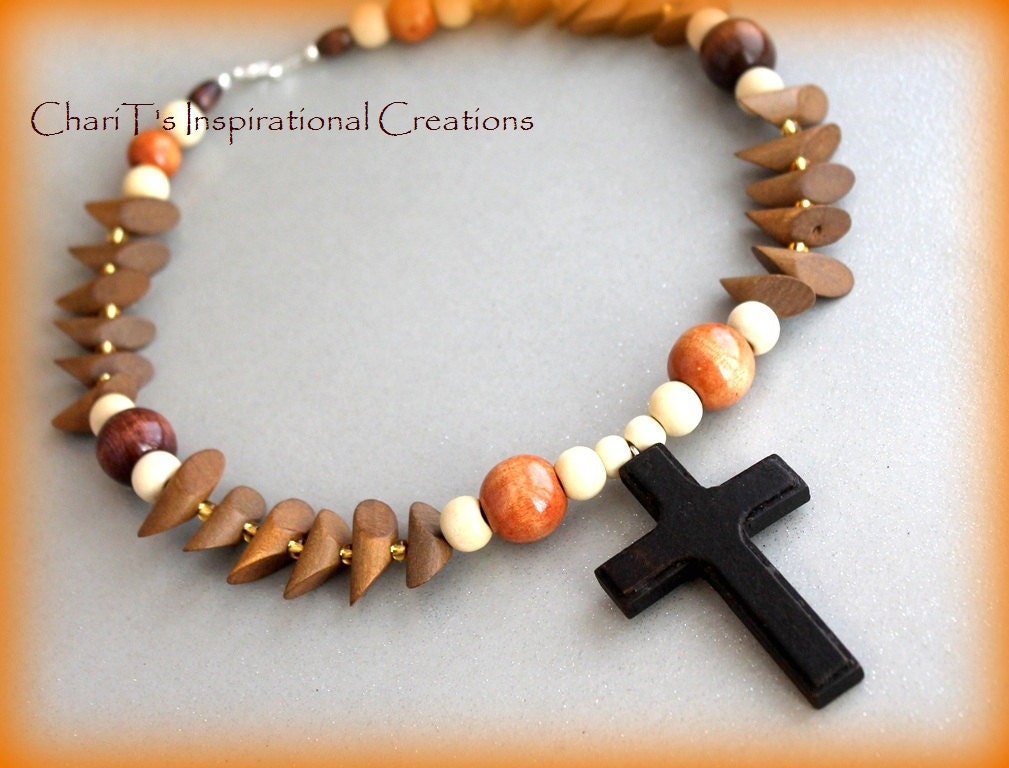 Shades of Brown Wood bead Cross Necklace