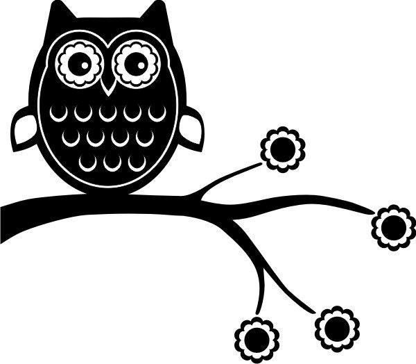 Cute Owl On Branch Clip Art Black And White