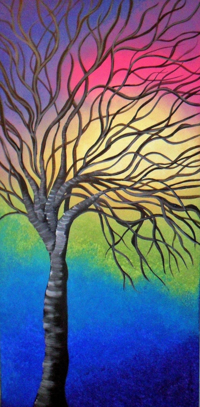 Holiday Special  FREE SHIPPING .....Rainbow Tree  Original Acrylic Abstract Painting Landscape