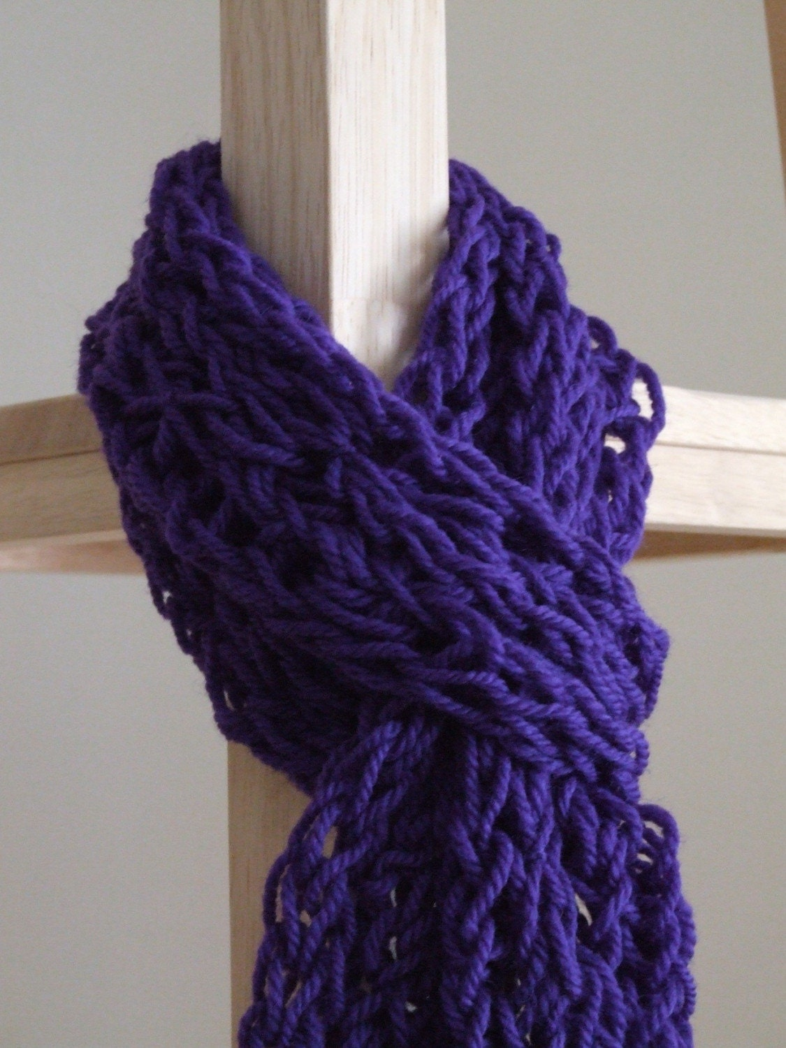 thick purple finger knit scarf by coebonne on etsy