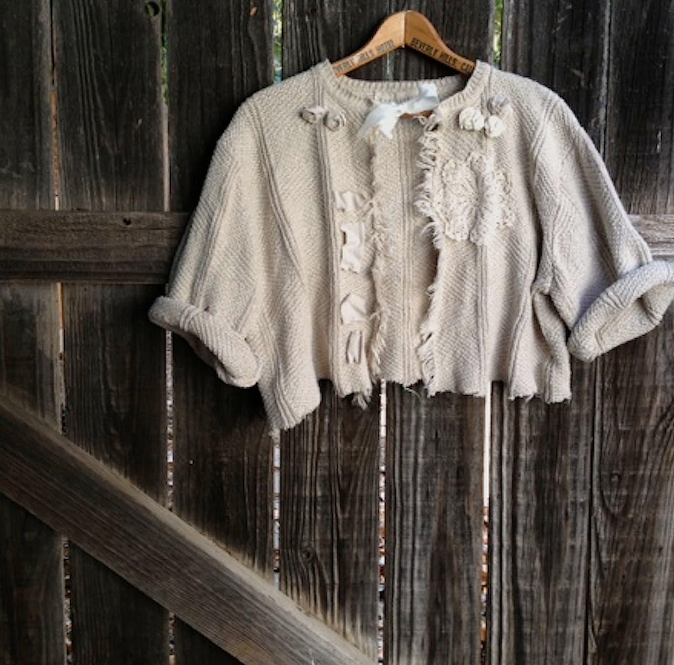 shabby oatmeal farm girl tan ecru prairie romantic tattery ribbon vintage lace roses gypsy cottage boho cardigan shrug - kateblossom