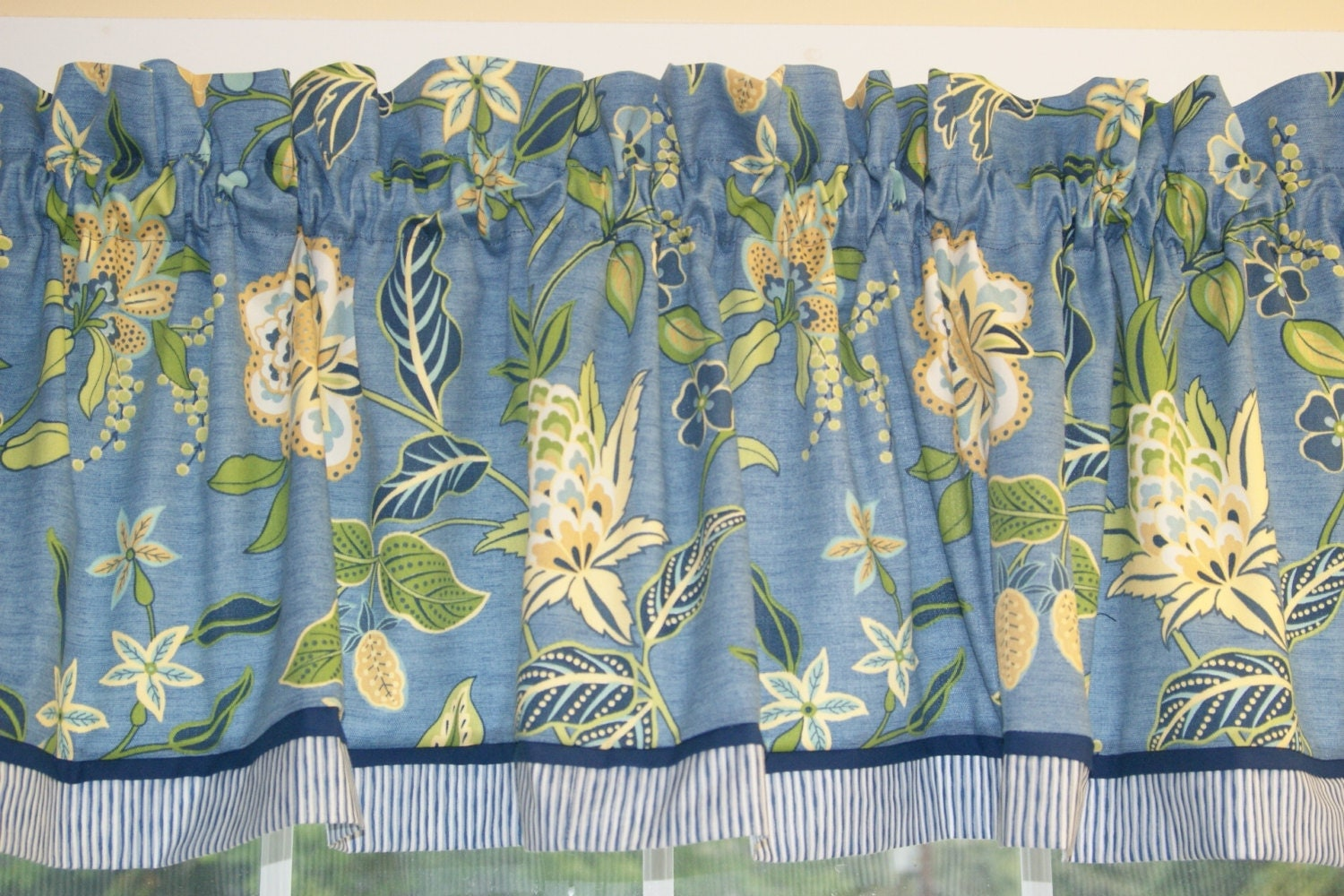 Blue yellow green floral toile valance 17x 81 drapery weight curtain
