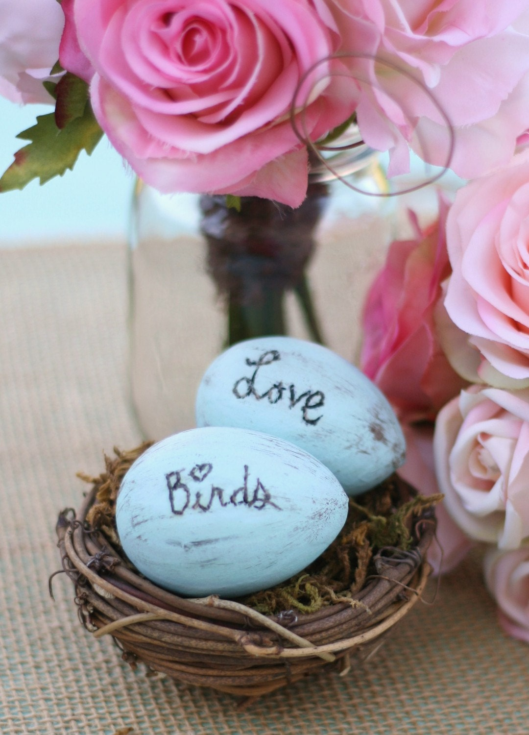 Rustic Woodland LOVE BIRDS Bird Nest Ring Bearer Pillow Flower Girl Basket Alternative Cake Topper