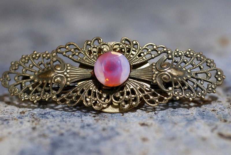Charming French Style Barrette with Pink Vintage Glass