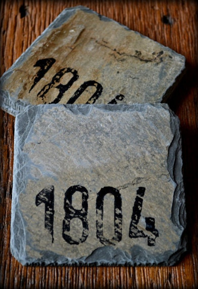Reclaimed Slate Coasters/ Hand-stamped Circa 1804 /Vintage / Drink set / Christmas Gift