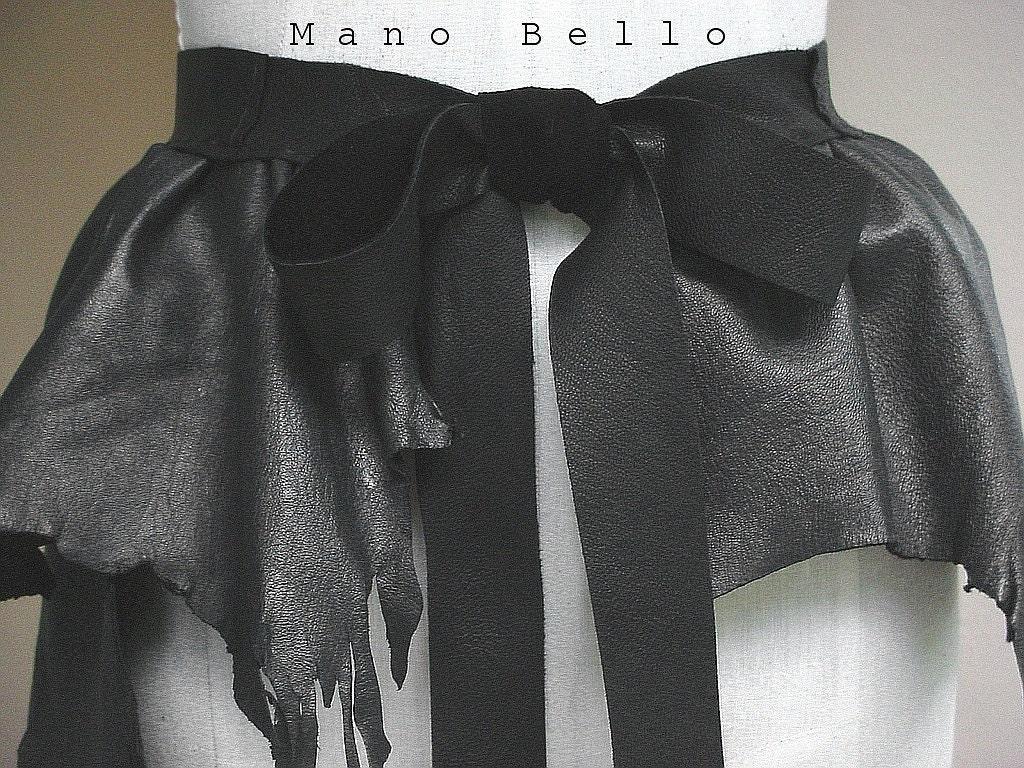 Leather Bustle Ruffle Peplum Belt Mica Gray and Black READY