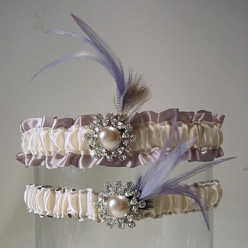 Claire de Lune Garter  a PETERENE ORIGINAL feathers and bling HOLLYWOOD