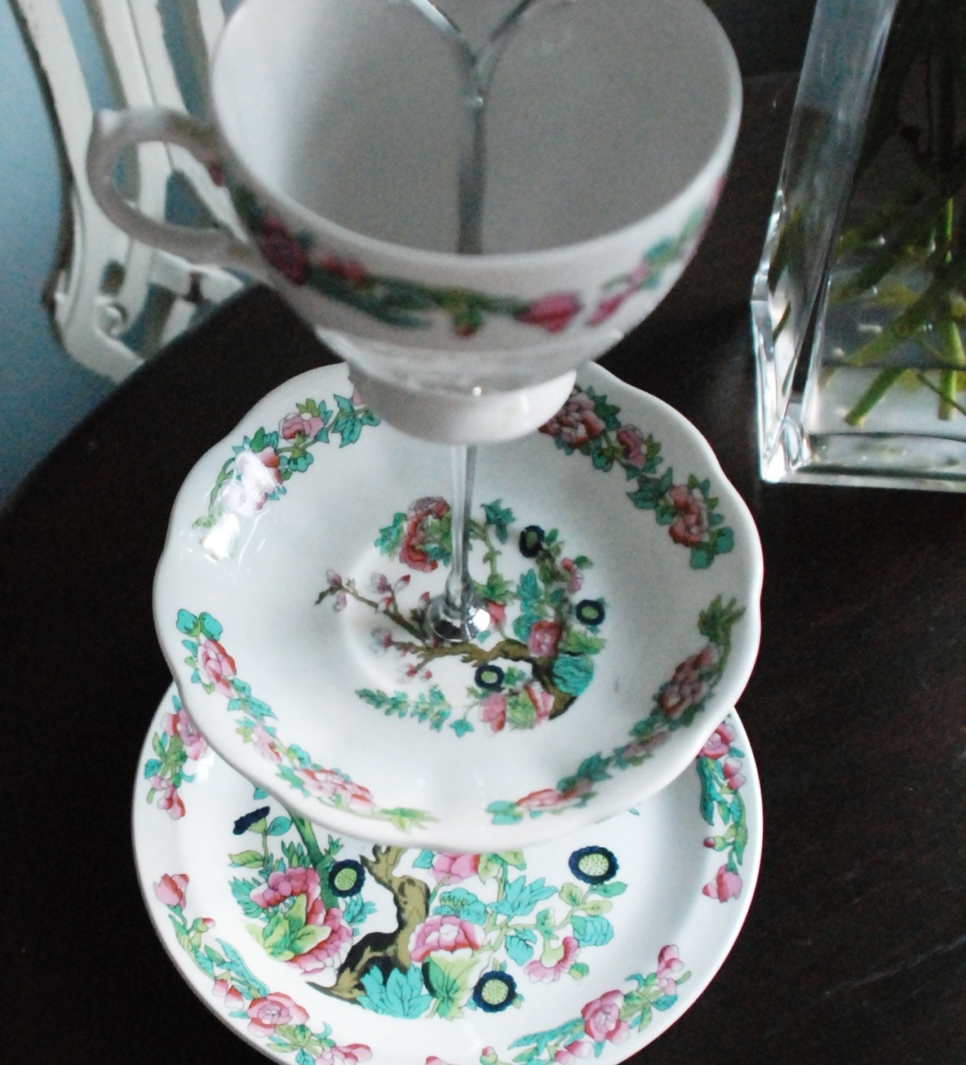 Vintage cake stand Indian tree design by MeowInteriors on Etsy