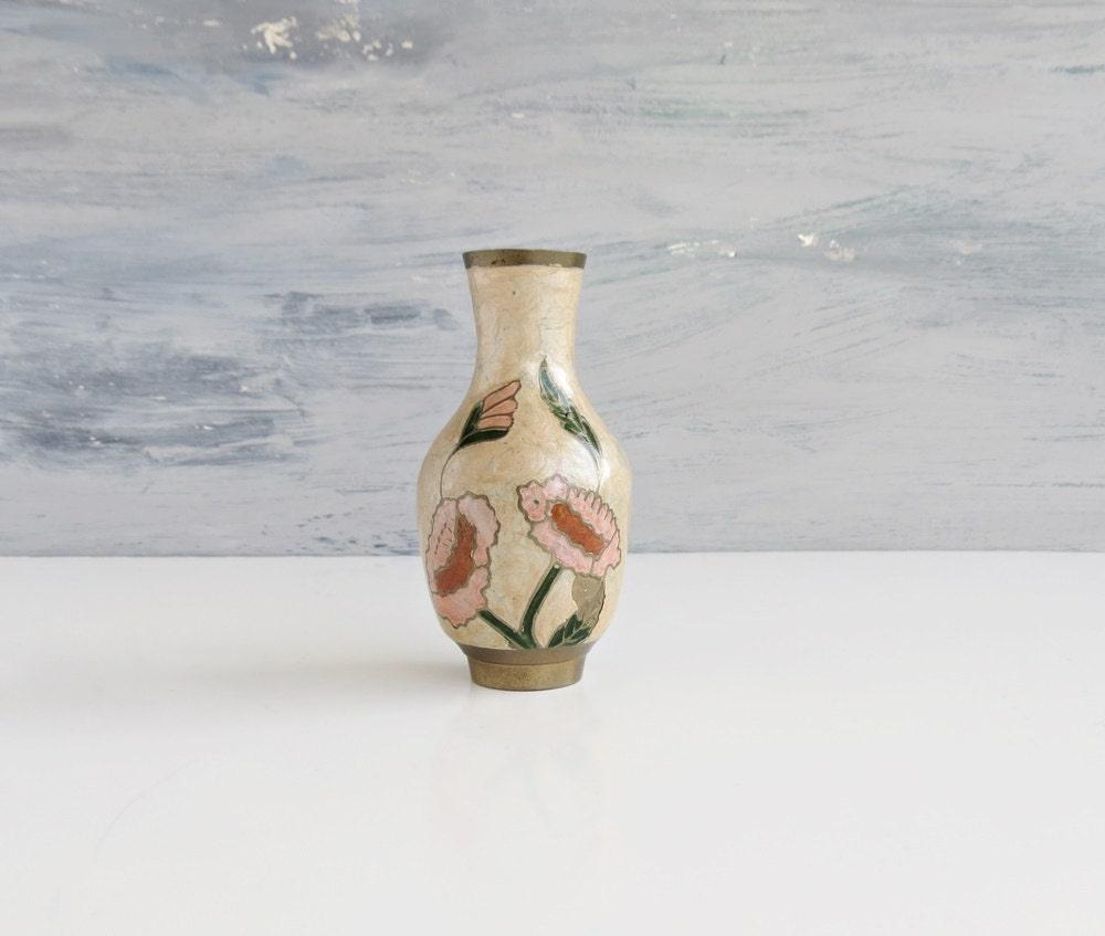 Cloisonne Brass Floral Stem Vase Decorative Vase Boho Home Decor