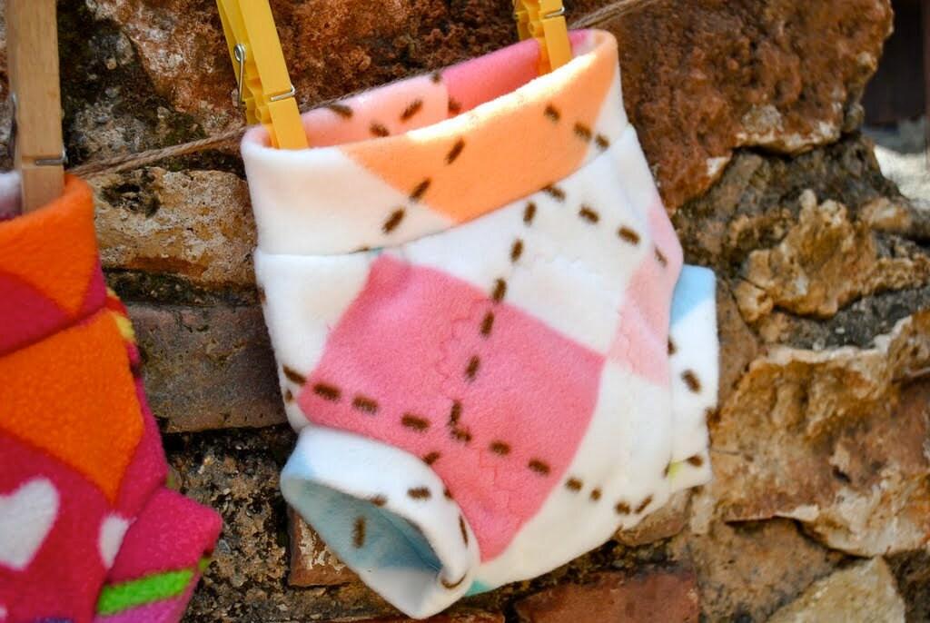 Fleece diaper soaker, size small, argyle
