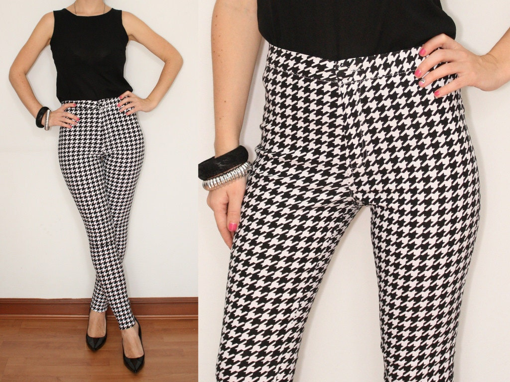 Black and White Skinny Pants High waisted pants by KSclothing