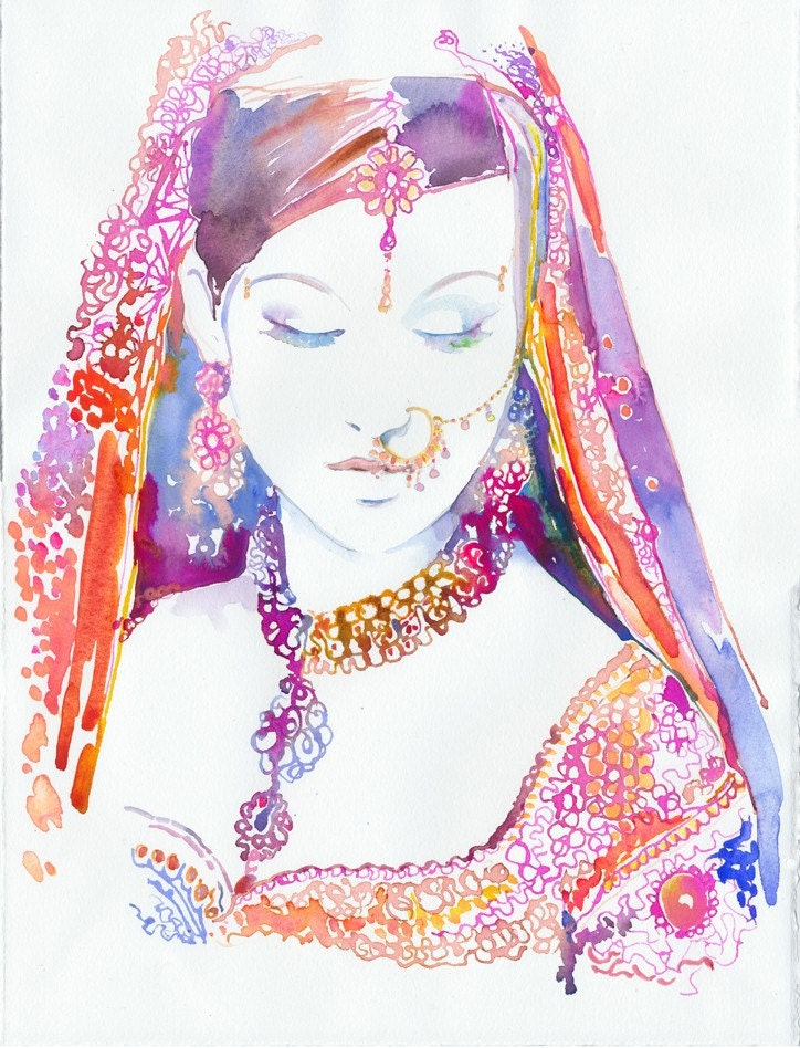Watercolour Fashion Illustration - Indian Bride 4