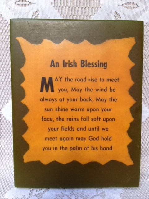CLEARANCE Vintage Irish Blessing Wooden Plaque by VintagerStyle