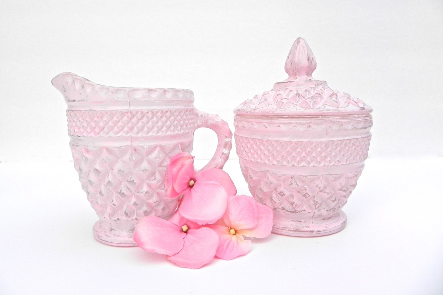Shabby Chic Pink Sugar and Creamer Set, Glass Painted Sugar Creamer Set - GlassCastle2