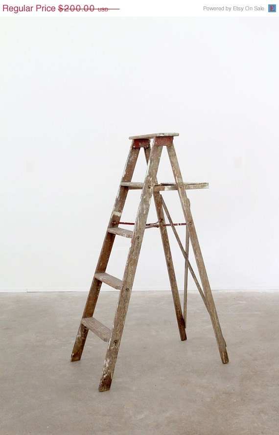 Antique Wood Ladder Old Wooden Painters Ladder by 86home
