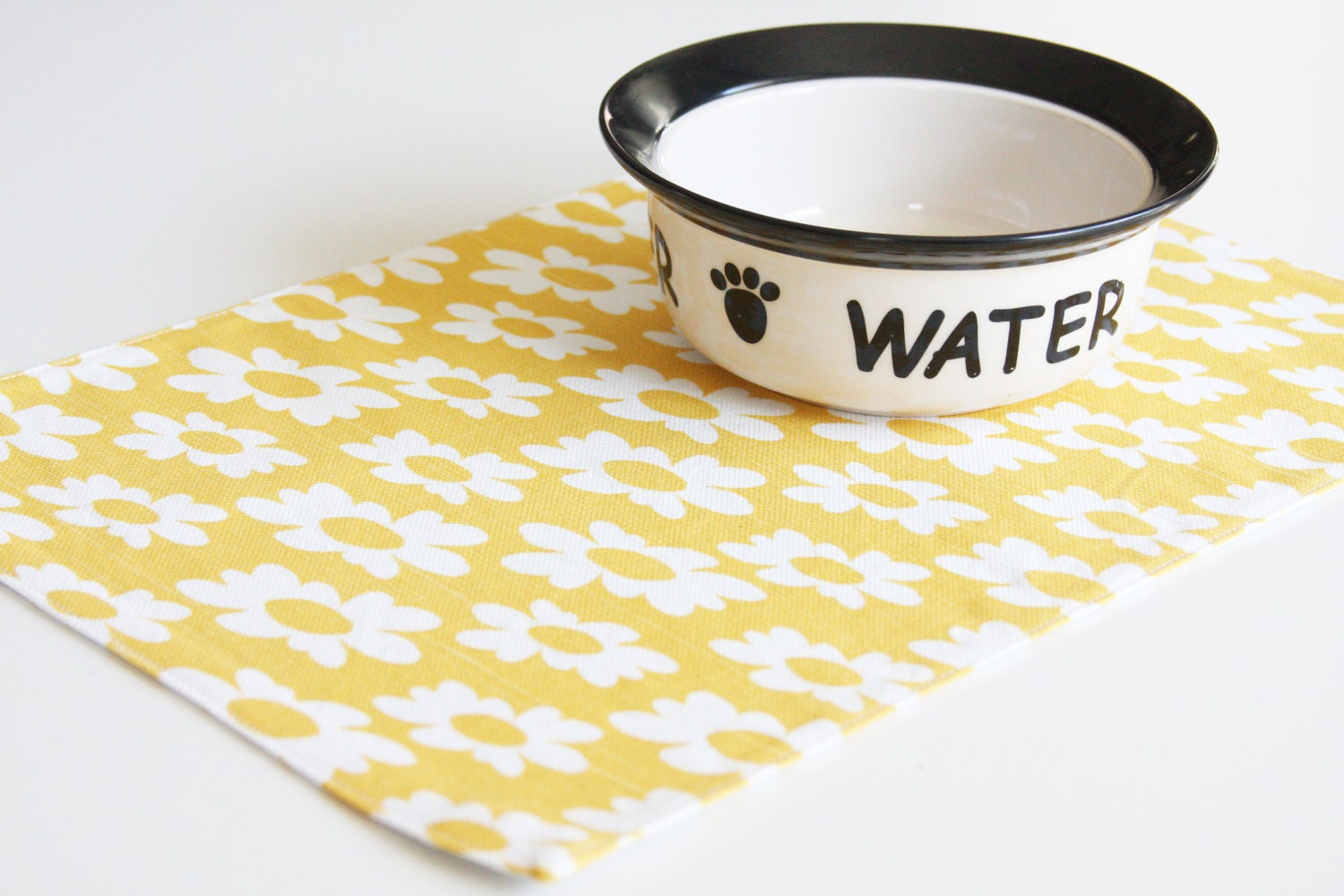 Pet-Mat - yellow with white flowers:  small size - toocutecustomcrafts
