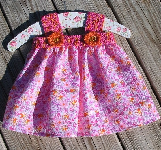 Pink daisy baby dress