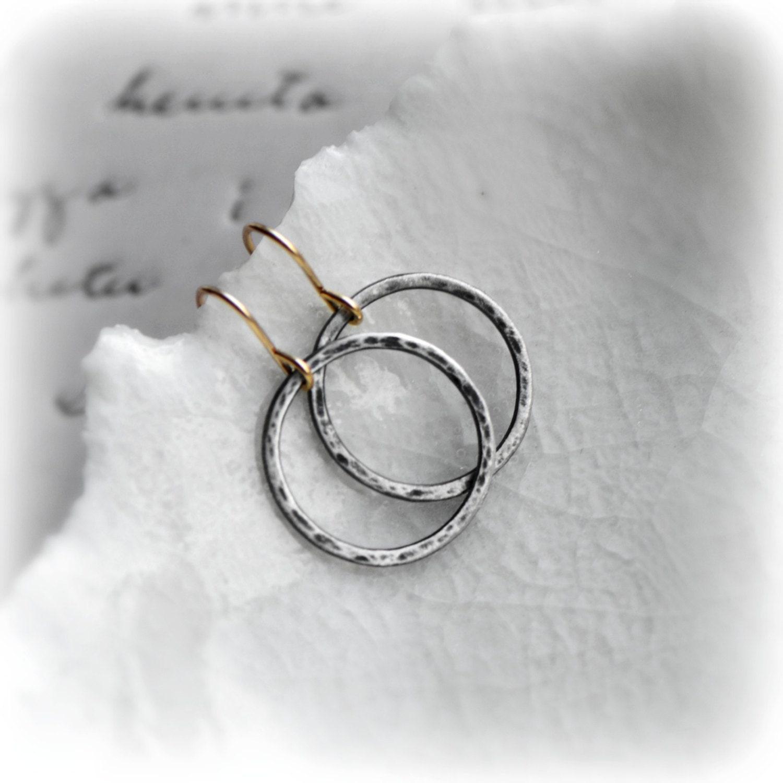 Oxidised Hoop Earrings Minimalist Earrings Sterling Silver Hoop Earrings Hammered Hoop Earrings Hoop Earrings Silver  Gold  Blissaria