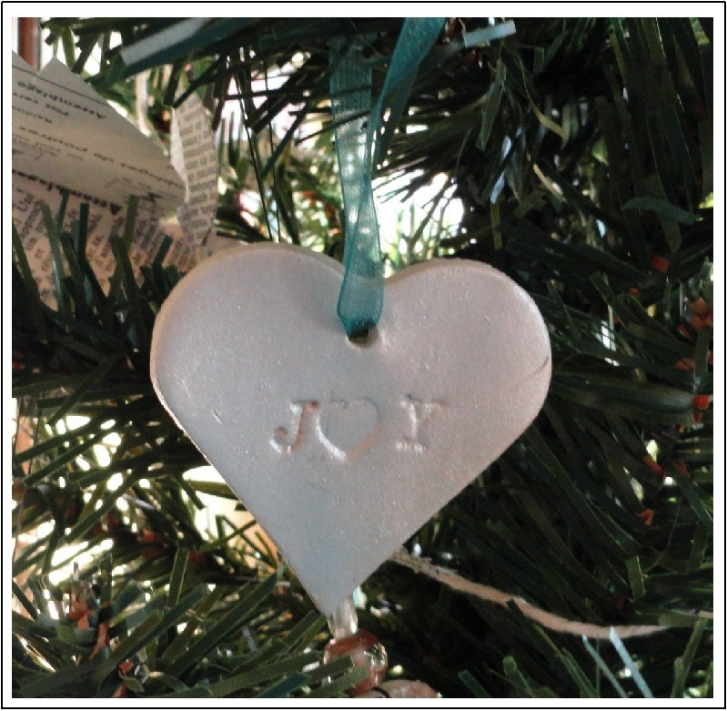Heart Shaped Clay Christmas Ornament   Package of 2