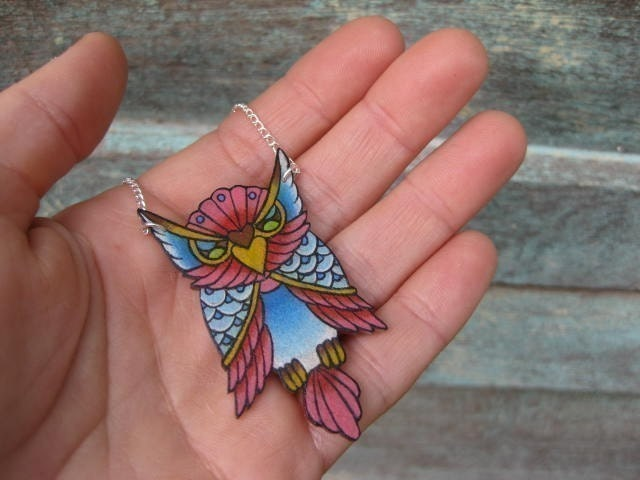 big vintage tattoo lucky pink and blue owl necklace