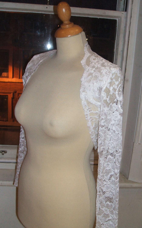 Baylis  Knight Pure White French Lace Cropped Long Sleeve Bolero Cardigan Wrap Stole Shrug Wedding