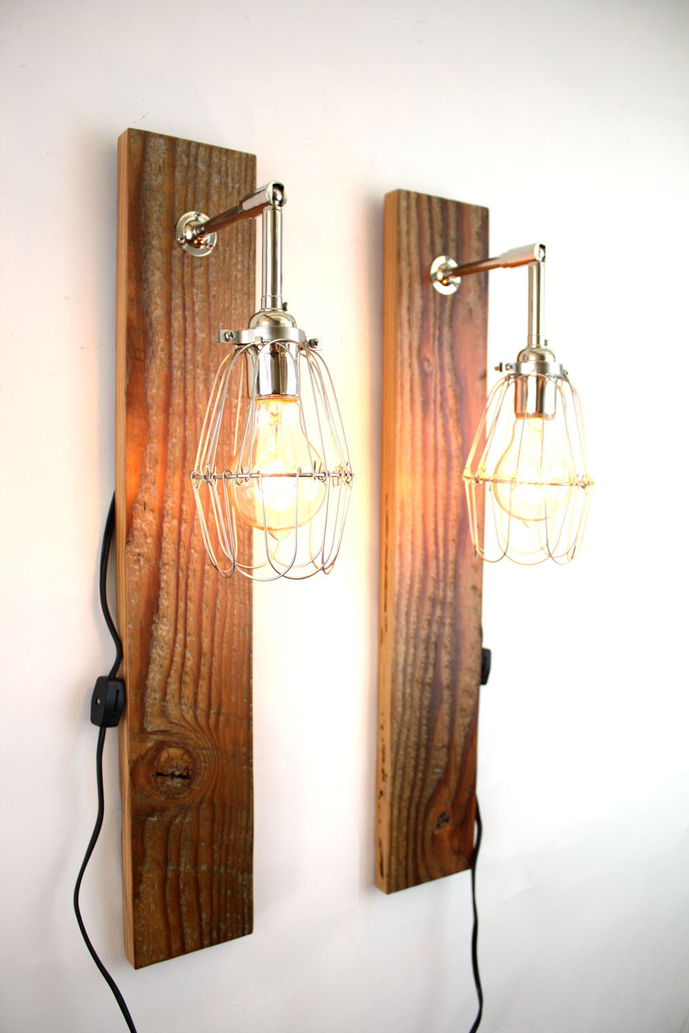Industrial Chic Wall Sconces : Reclaimed Wood Wall Lamps // Pair of Industrial Sconces // Salvaged Chic Lighting // Chrome Cage ...