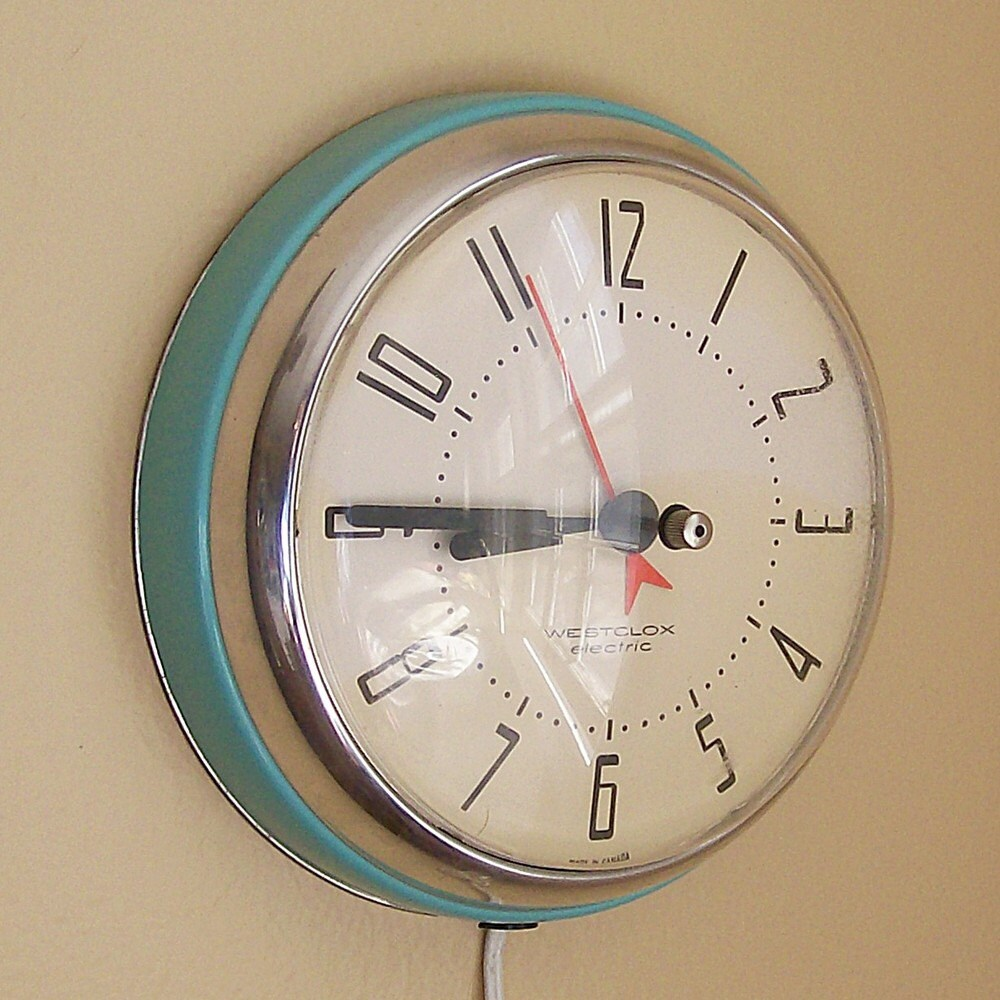 Retro Electric Kitchen Wall Clocks: Turquoise And Chrome Electric Wall Clock By VintageShelfAndWall