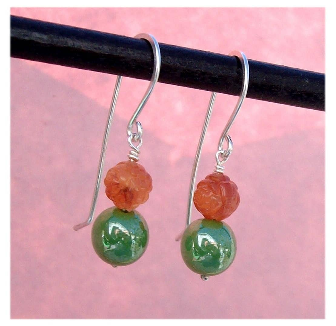 jewelry, earrings, metal, glass, plastic, bead, rose, tomato, red, green, orange, sterling silver, pawandclawdesigns, earring