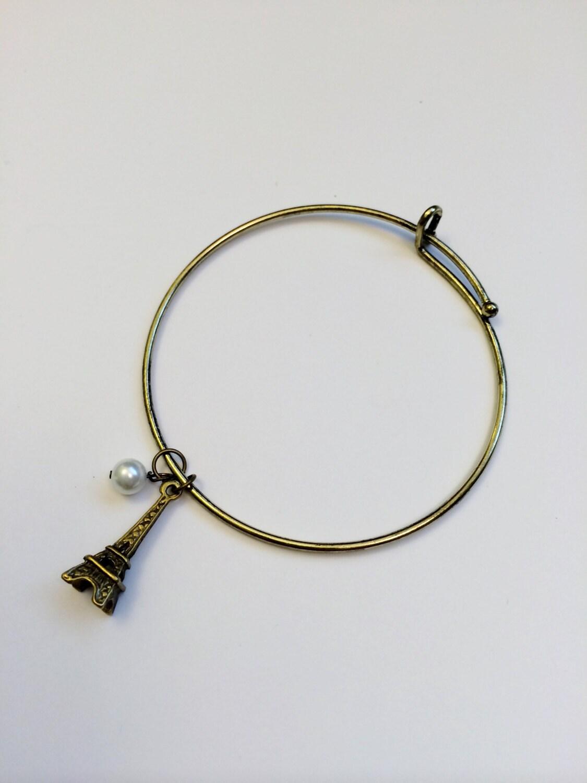 items similar to eiffel tower bangle bracelet pearl