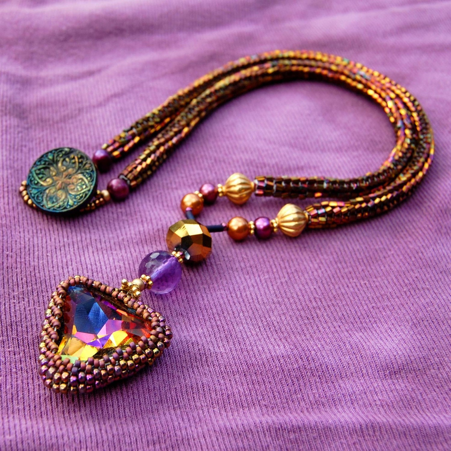 Beadwoven Necklace w/ Vintage Volcano Swarovski Crystal Stone (Volcanic Heart Center)