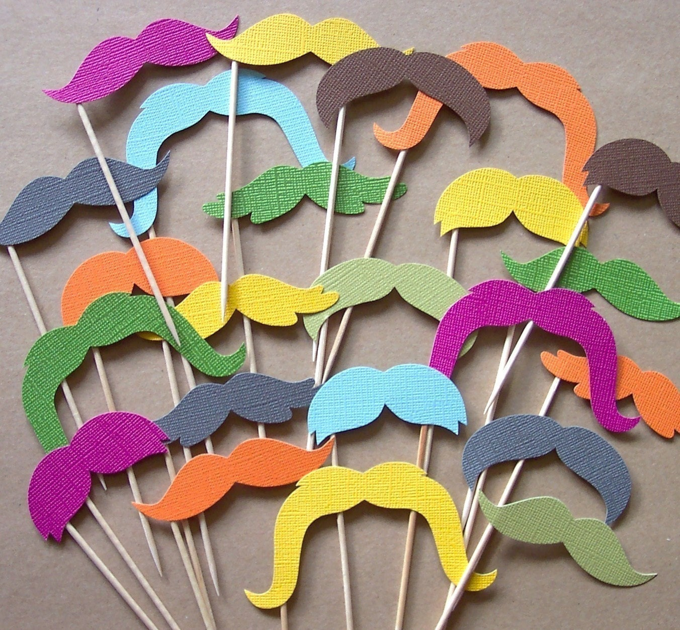 Mustache Cupcake Toppers - Set of 20 Picks - You Choose Colors