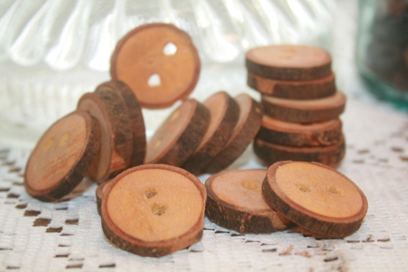 Maple craft buttons set of 16 bulk craft by theheritagetree