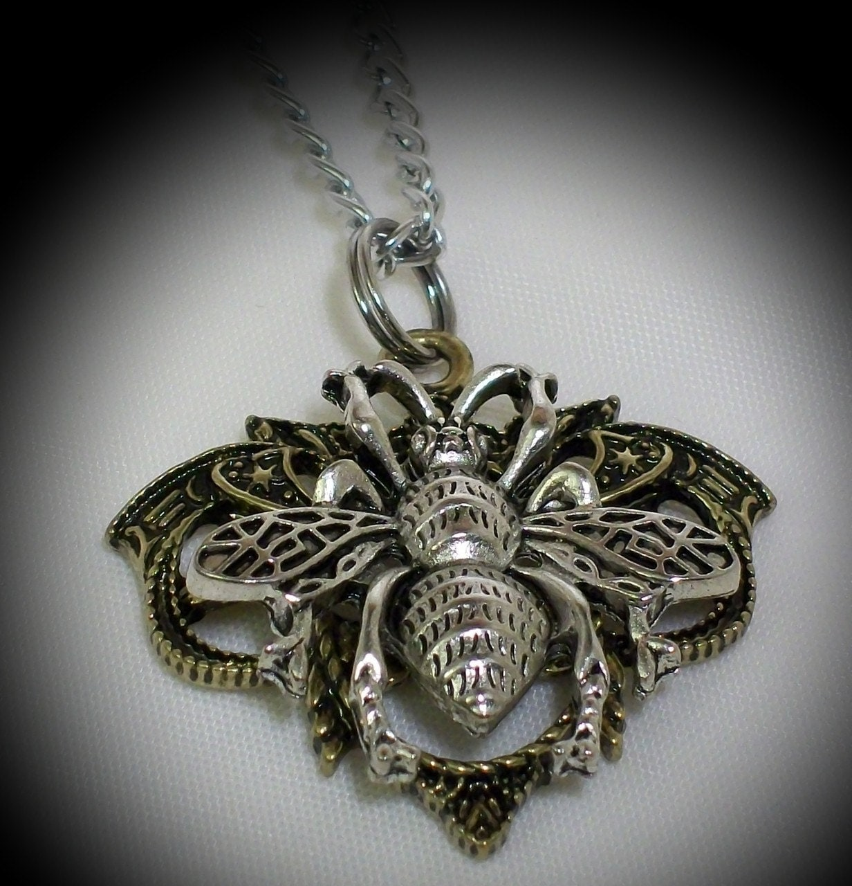Queen Bee Dragon's Vein Necklace by leighswiccanboutique on Etsy from etsy.com