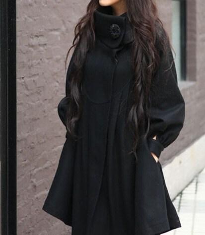Black loose winter coat