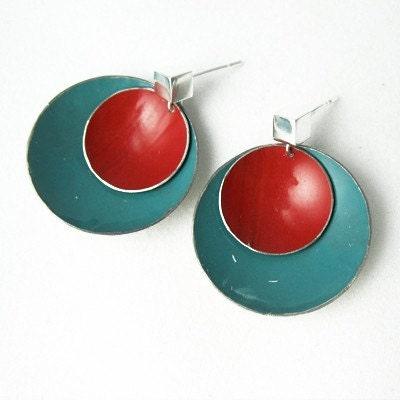 Slate Blue Red Post Earrings