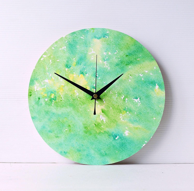Green Wall Clock  Watercolour Wall Clock  Abstract Watercolour  Wall Art  Green and Yellow Clock  Hand painted Clock