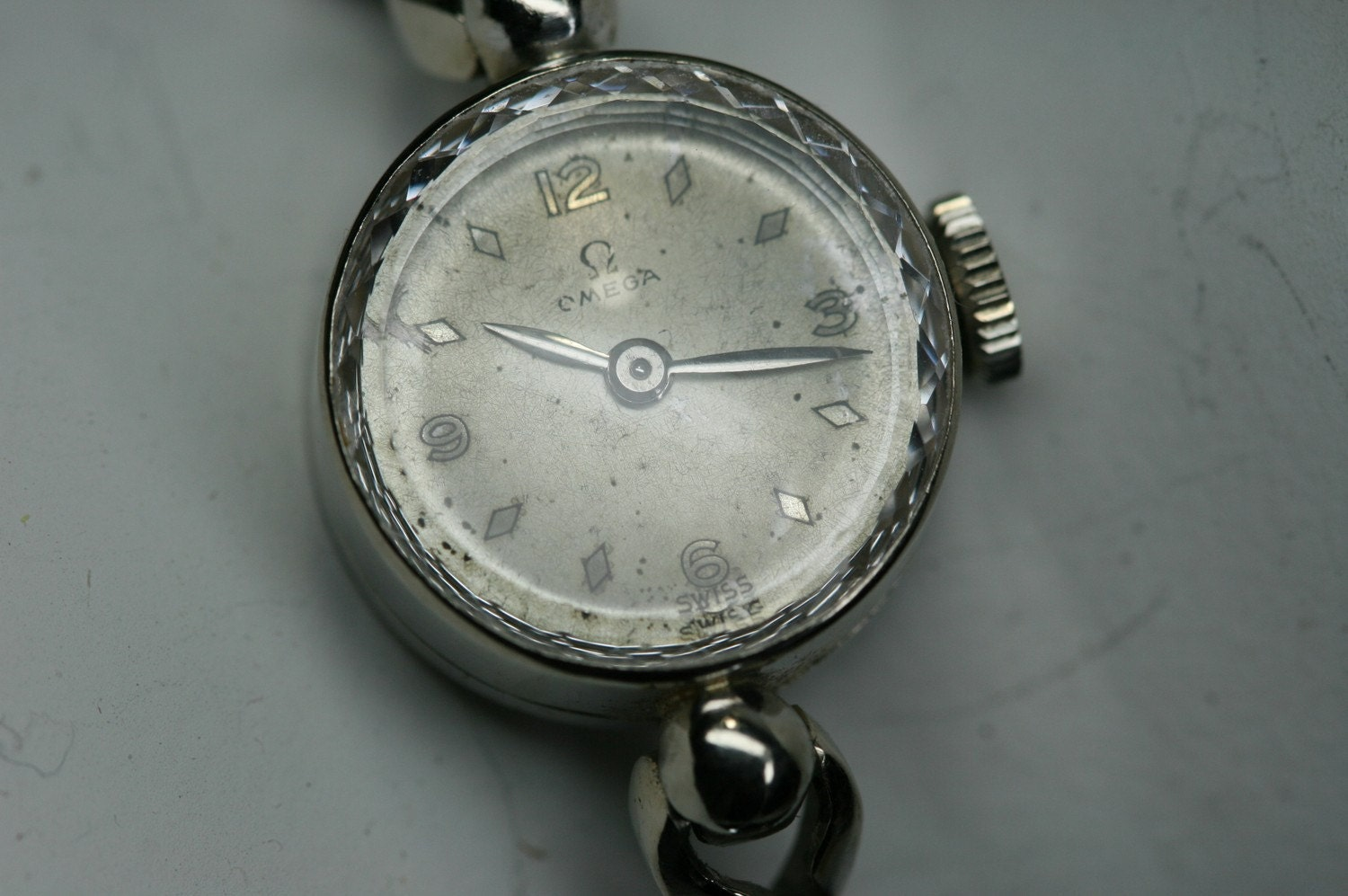 Omega-Womens Vintage 14k White Gold Omega Watch and Watchband
