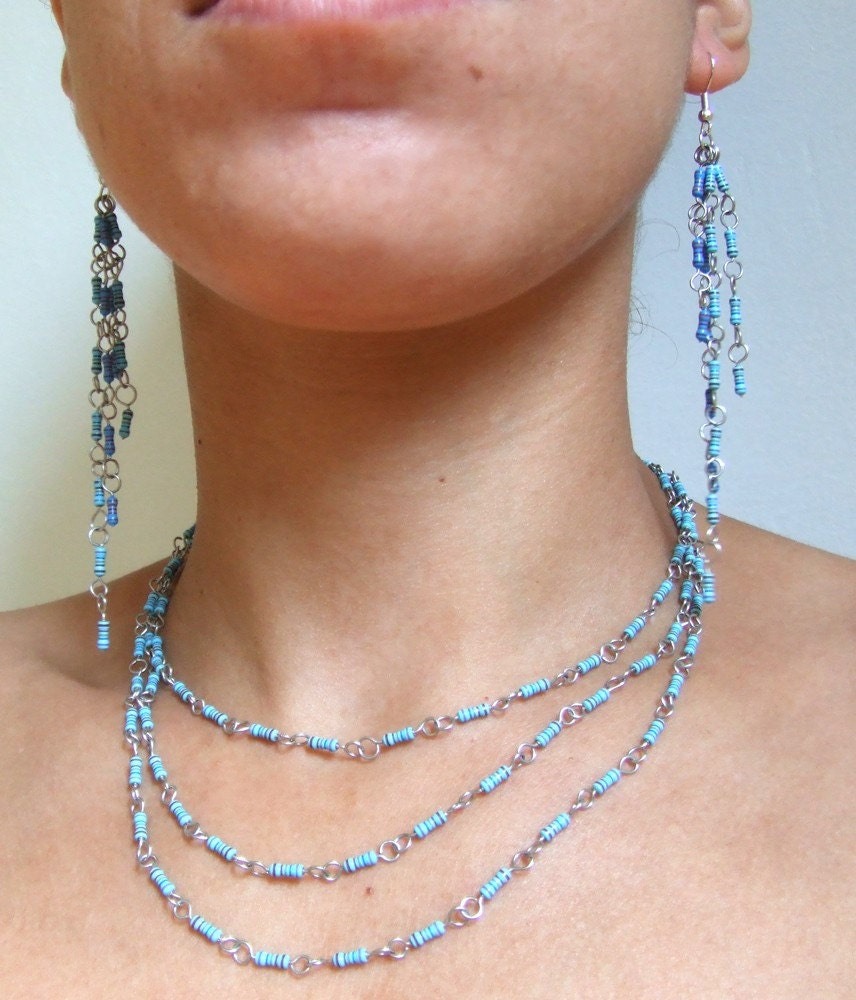 Falling Water Set of Resistor Earrings and a necklace by 10kohm