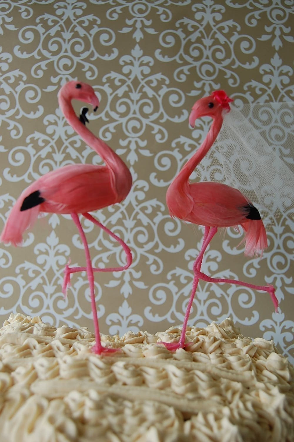 Flamingo Love Birds Wedding Cake Topper