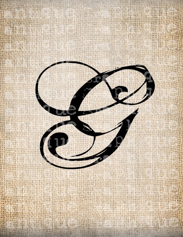 Antique Letter G Script Monogram Digital by AntiqueGraphique