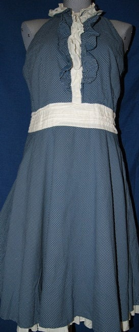 SALE....Blue and White Small Polka Dot Dress with Ruffle Accents