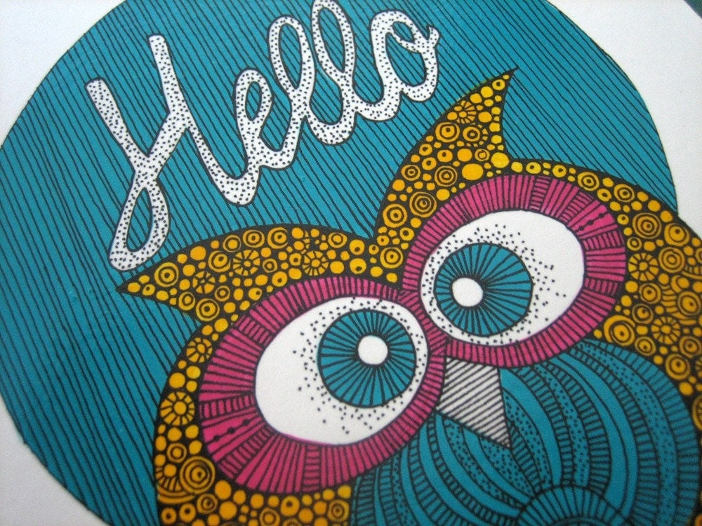 Hello Little Owl Original drawing