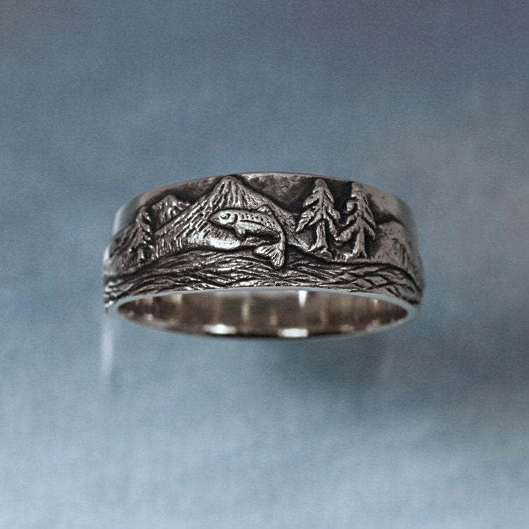 Sterling Silver Rings With Trout