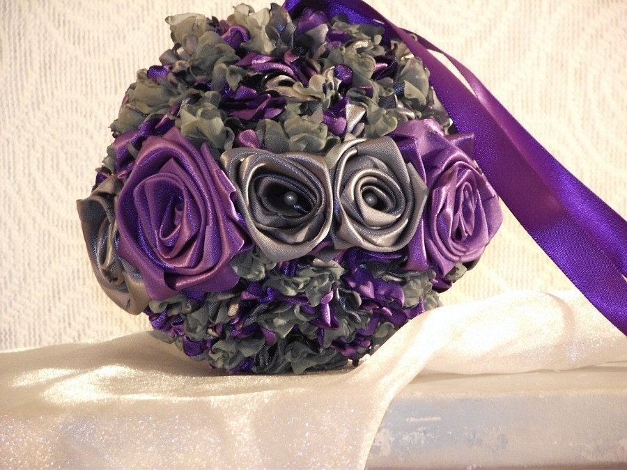 Pomander kissing ball purple silver grey sage Ring of Roses customize