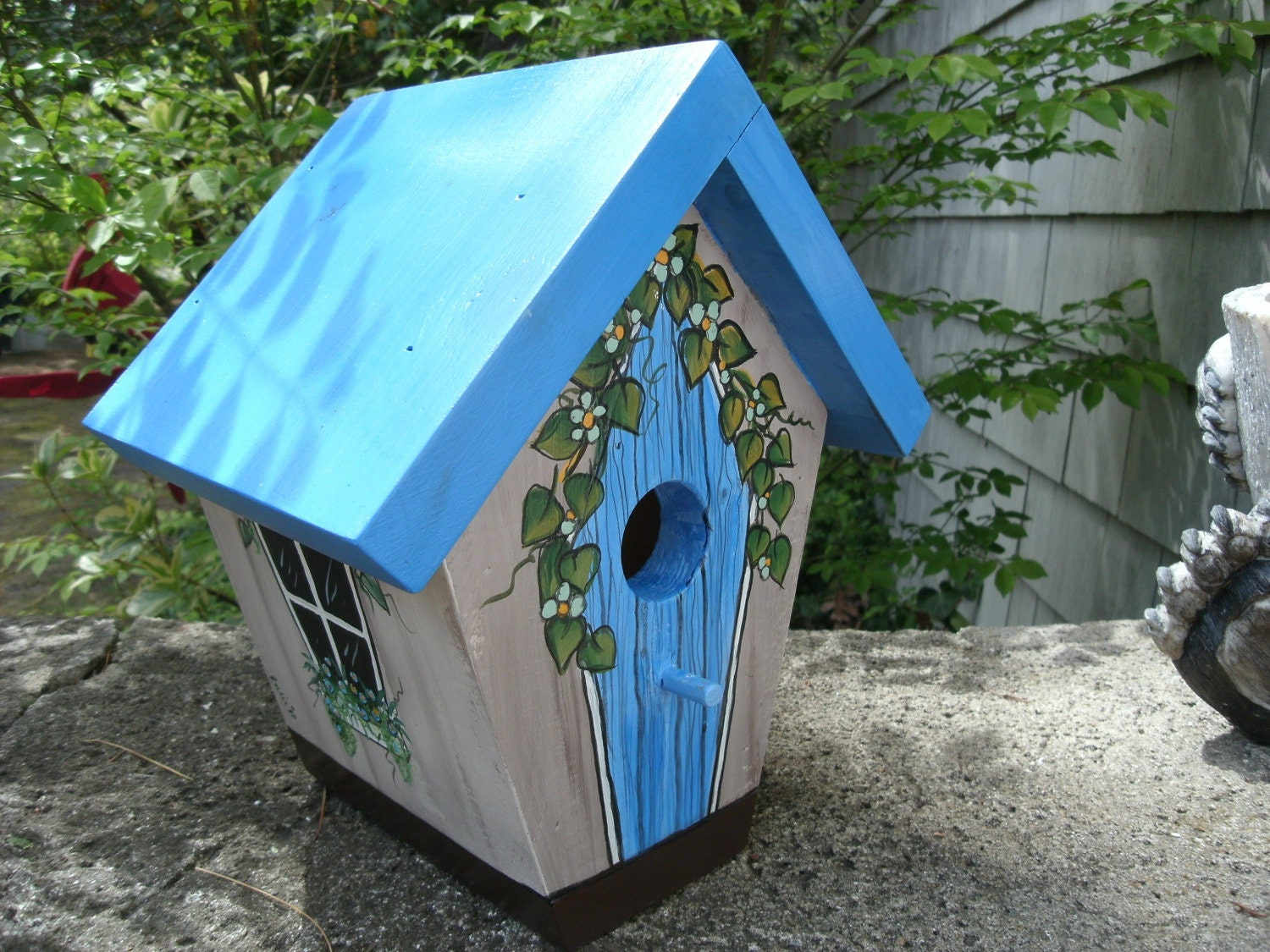 Handmade hand painted bird house blue country by juliesgiftbox - Unique house painting ideas ...