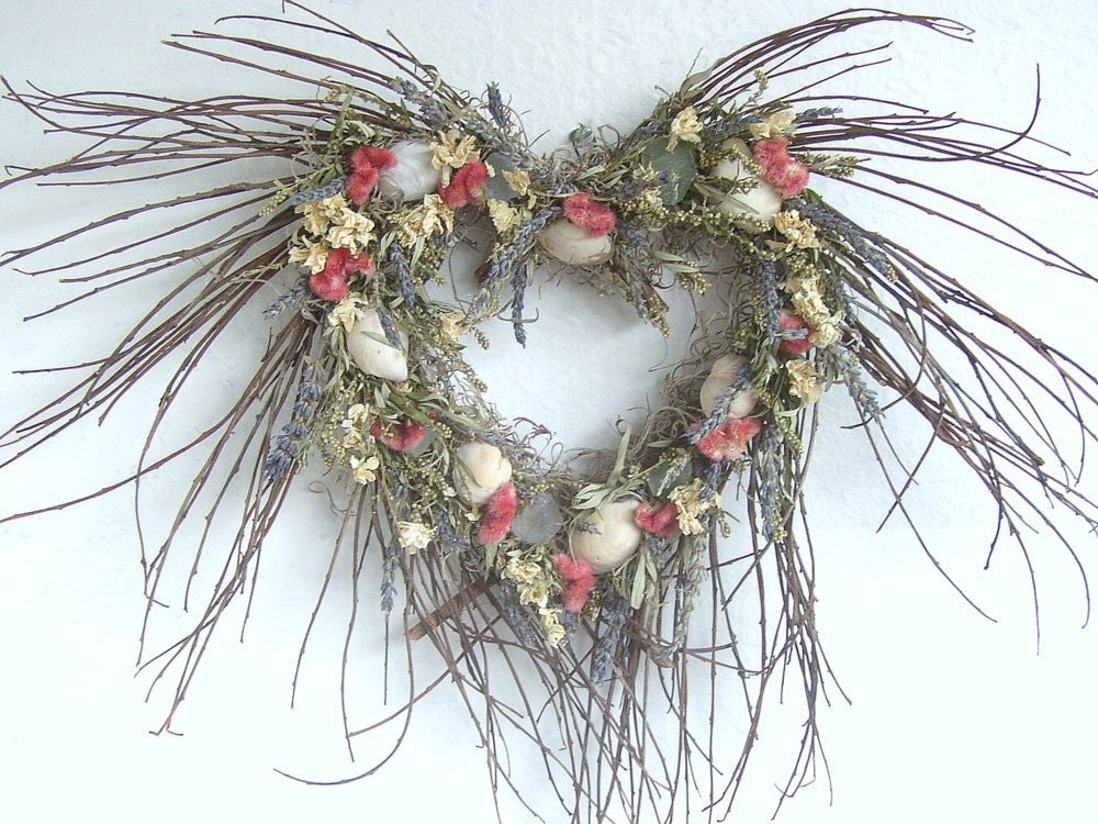 Sea shell decorated Heart Twig Wreath with Dried Flowers