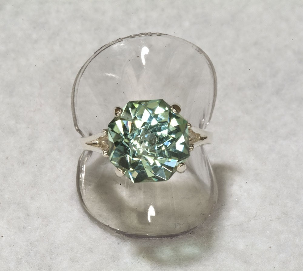 Prasiolite Green Amethyst  Rose Petal Cut 9 carat Alternative Engagement Ring