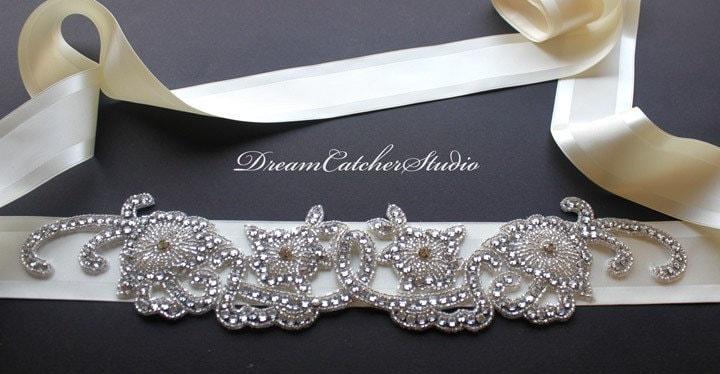 Bella Vintage crystal romantic chic design Sash/Belt