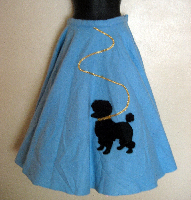 vintage poodle skirt blue felt with by
